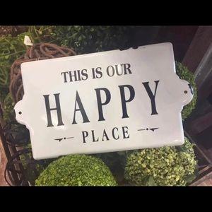 Enamel Happy Place Sign Metal Farmhouse White